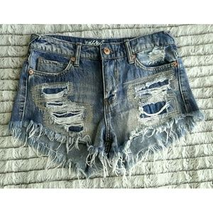 Mossimo Distressed Frayed High Rise Shorts